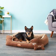 PLS Pet Paradise Bolster Extra Plush Dog & Cat Bed, Brown, Large