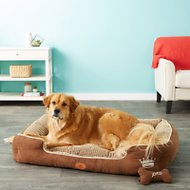 PLS Pet Paradise Bolster Extra Plush Dog & Cat Bed, Brown, X-Large
