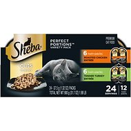 Sheba Perfect Portions Multipack Poultry Entrees Cat Food Trays, 2.6-oz, case of 12 twin-packs