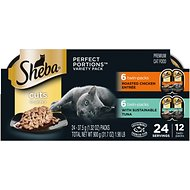 Sheba Perfect Portions Multipack Tuna and Roasted Chicken Cuts in Gravy Entrée Cat Food Trays, 2.6-oz, case of 12 twin-packs