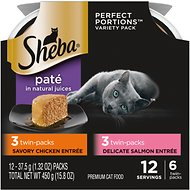 Sheba Perfect Portions Multipack Chicken and Salmon Entrée  Cat Food Trays, 2.6-oz, case of 6 twin-packs