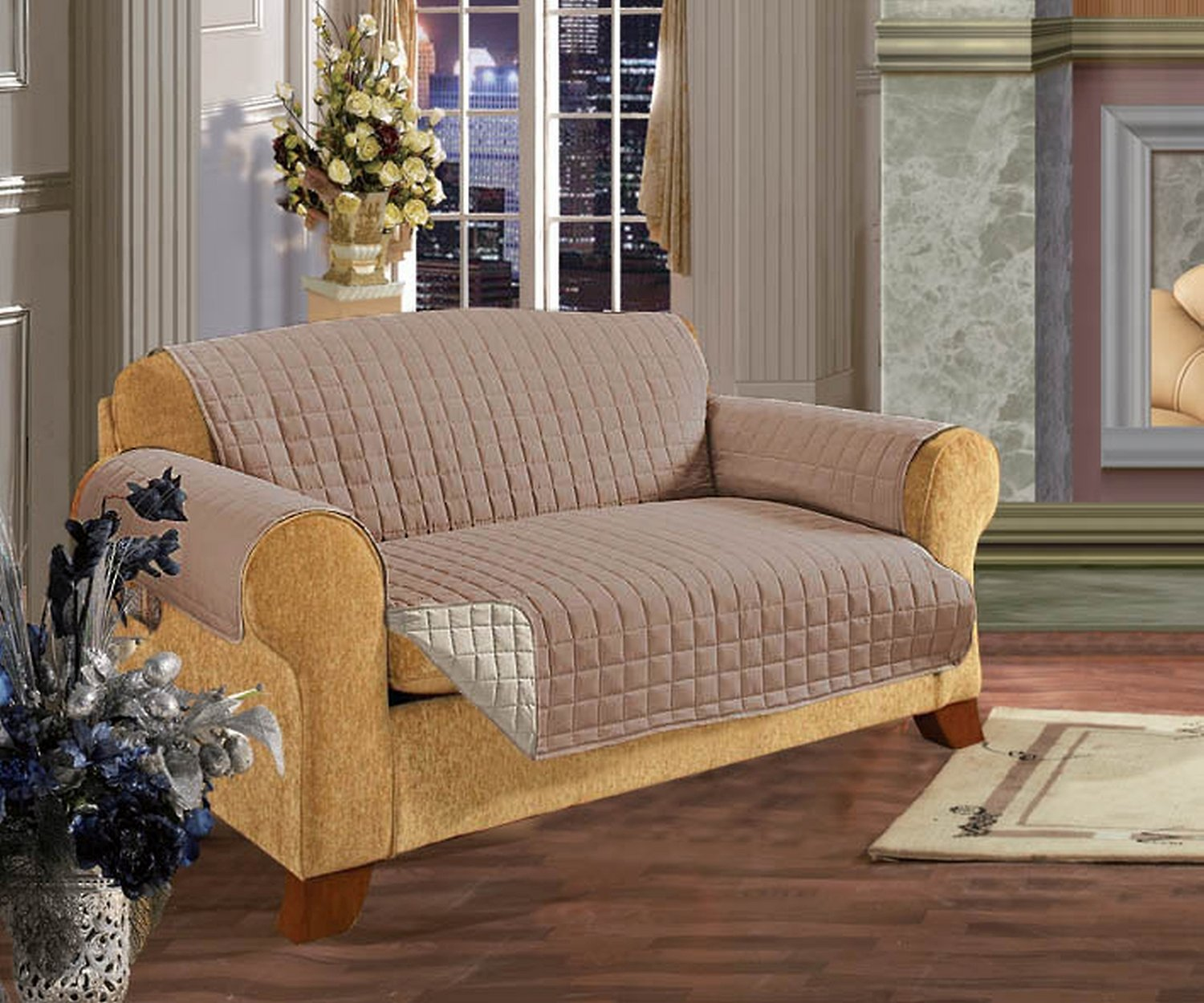 Elegant Comfort Reversible Quilted Sofa Cover, Cream/Taupe