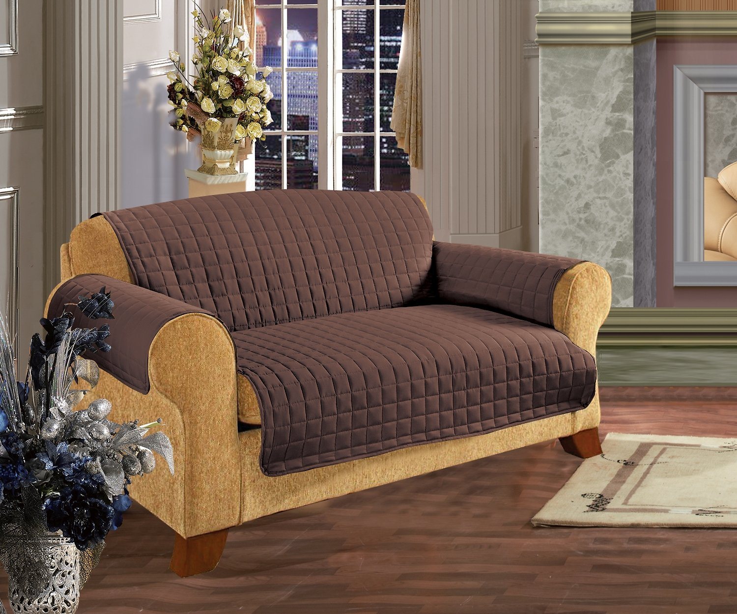 Elegant Comfort Reversible Quilted Sofa Cover, Chocolate