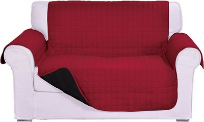 Elegant Comfort Reversible Quilted Sofa Cover Burgundy Black Chewy Com