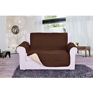 Elegant Comfort Reversible Quilted Love Seat Cover, Chocolate/Cream