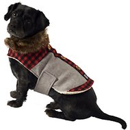 PetRageous Designs Jackson Faux Fur Trim Dog Lodge Coat, Gray, Small