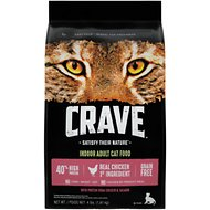 Crave with Protein from Chicken & Salmon Indoor Adult Grain-Free Dry Cat Food, 4-lb bag