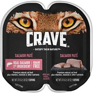 Crave Salmon Pate Grain-Free Cat Food Trays, 2.6-oz, case of 24 twin-packs