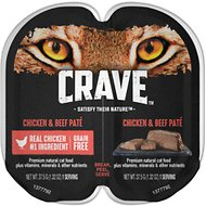 Crave Chicken & Beef Pate Grain-Free Cat Food Trays, 2.6-oz, case of 24 twin-packs