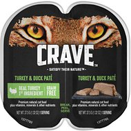 Crave Turkey & Duck Pate Grain-Free Cat Food Trays, 2.6-oz, case of 24 twin-packs
