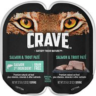 Crave Salmon & Trout Pate Grain-Free Cat Food Trays, 2.6-oz, case of 24 twin-packs