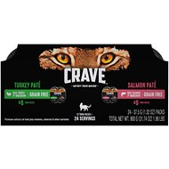 Crave Turkey Pate & Salmon Pate Multipack High-Protein Grain-Free Cat Food Trays, 2.6-oz, case of 12 twin-packs