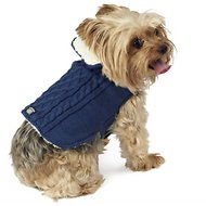 PetRageous Designs Carle's Cable Knitted Dog Sweater Jacket, X-Small, Navy