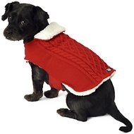 PetRageous Designs Carle's Cable Knitted Dog Sweater Jacket, Small, Red