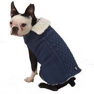 PetRageous Designs Carle's Cable Knitted Dog Sweater Jacket, Medium, Navy