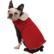 PetRageous Designs Carle's Cable Knitted Dog Sweater Jacket, Medium, Red