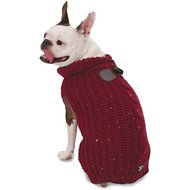PetRageous Designs Corbin's Cable Knitted Dog & Cat Sweater, Small, Cranberry