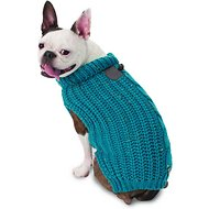 PetRageous Designs Corbin's Cable Knitted Dog & Cat Sweater, Teal, Small