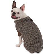 PetRageous Designs Corbin's Cable Knitted Dog & Cat Sweater, Gray, Medium
