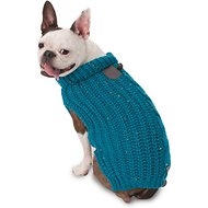 PetRageous Designs Corbin's Cable Knitted Dog & Cat Sweater, Teal, Medium