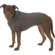PetRageous Designs Corbin's Cable Knitted Dog & Cat Sweater, Gray, Large