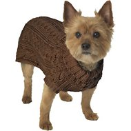 PetRageous Designs Marley's Cable Knitted Dog & Cat Sweater, Mocha, X-Small