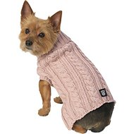 PetRageous Designs Marley's Cable Knitted Dog & Cat Sweater, X-Small, Rose