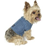 PetRageous Designs Marley's Cable Knitted Dog & Cat Sweater, X-Small, Slate Blue