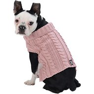 PetRageous Designs Marley's Cable Knitted Dog Sweater, Small, Rose