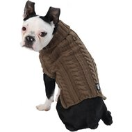 PetRageous Designs Marley's Cable Knitted Dog Sweater, Medium, Mocha