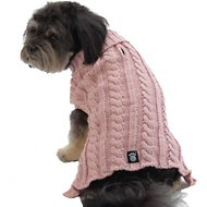 PetRageous Designs Marley's Cable Knitted Dog & Cat Sweater, Medium, Rose