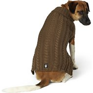 PetRageous Designs Marley's Cable Knitted Dog & Cat Sweater, Large, Mocha
