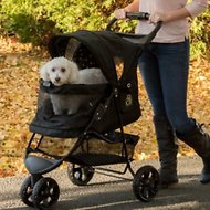 Pet Gear Special Edition No-Zip Dog & Cat Stroller, Black with Gold Monogram