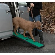 Pet Gear Travel Lite Bi-Fold Dog & Cat Ramp with SupertraX, Black/Green