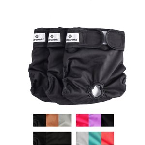 Pet Parents Washable Male & Female Dog Diapers, Black, X-Small: 4 to 10-in waist, 3 count