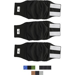 Pet Parents Belly Band Male Dog Wrap, 3-pack, Large, Black