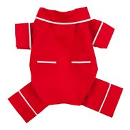 Fab Dog Poplin Dog Pajamas, Red, Length 8-in