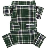 Fab Dog Plaid Dog Pajamas, Green, Back Length 14-in