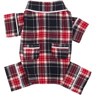 Fab Dog Plaid Dog Pajamas, Blue, Back Length 8-in