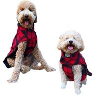"Fab Dog Plaid Boucle Dog Coat, 16"", Black/Red"
