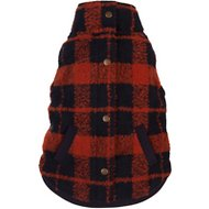 Fab Dog Plaid Boucle Dog Coat, Orange/Navy, 24""