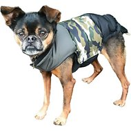Fab Dog Color Block Dog Puffer Vest, Black/Camo/Green, 8""