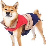 "Fab Dog Color Block Dog Puffer Vest, 16"", Red/Tan/Navy"