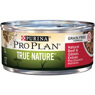 Purina Pro Plan Adult True Nature Natural Beef & Giblets Entree Grain-Free Canned Cat Food, 5.5-oz, case of 24