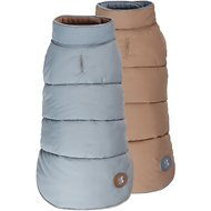 Fab Dog Reversible Dog Puffer Vest, Camel/Gray, 8-in