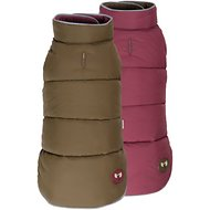 Fab Dog Reversible Dog Puffer Vest, Olive/Burgundy, 8-in