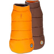 "Fab Dog Reversible Dog Puffer Vest, 18"", Orange/Brown"