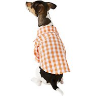 Fab Dog Plaid Button Down Dog & Cat Shirt, Orange, 8-in