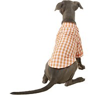 Fab Dog Plaid Button Down Dog & Cat Shirt, Orange, 16-in