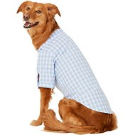Fab Dog Plaid Button Down Dog & Cat Shirt, Blue, 20-in